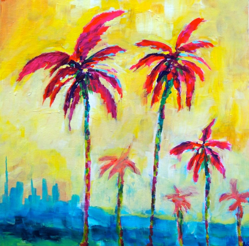 """Happy Sunny Palms"" 20x20- acrylic on panel SOLD"