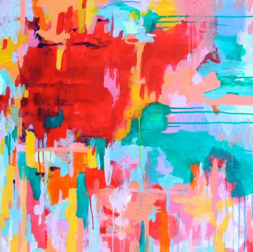 """Happy Not Hippy"" 28x28"" on canvas Amira Rahim"