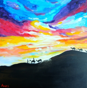 """Desert Sky"" 40cm x 40cm Acrylic on canvas Available at www.amirarahim.com"