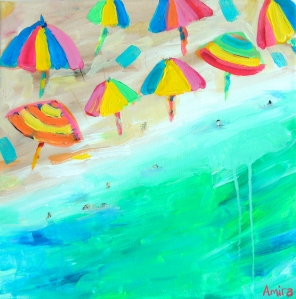"""Beach Umbrellas 1"" 30cm x 30cm Acrylic on canvas"
