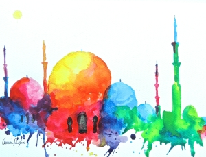 """Grand Mosque in Color"" Ink on Paper Prints Now Available"