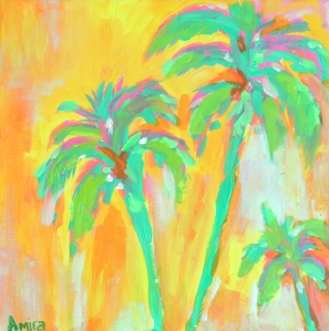 """Tropical Palms Yellow"" 30cm x 30cm Acrylic on canvas"