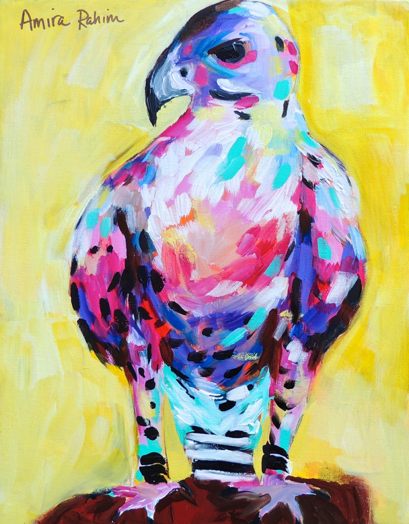 original falcon painting by abstract artist amira rahim