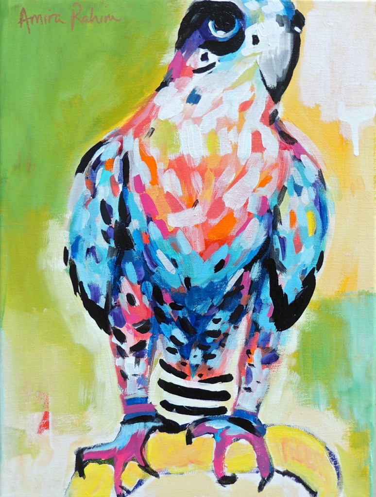 original falcon painting on canvas by amira rahim