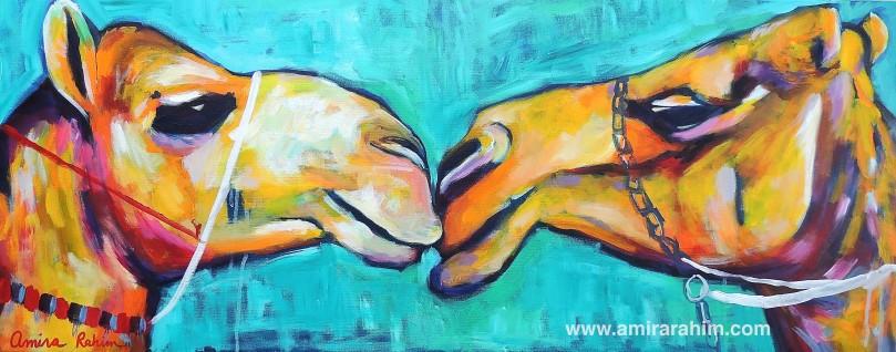 """""""First Kiss"""" 40x100cm"""" acrylic on canvas"""