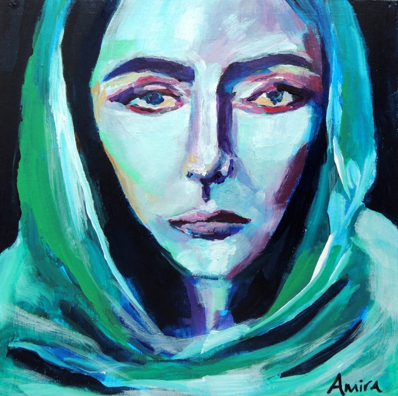 """Green Scarf"" 12x12"" acrylic on panel"