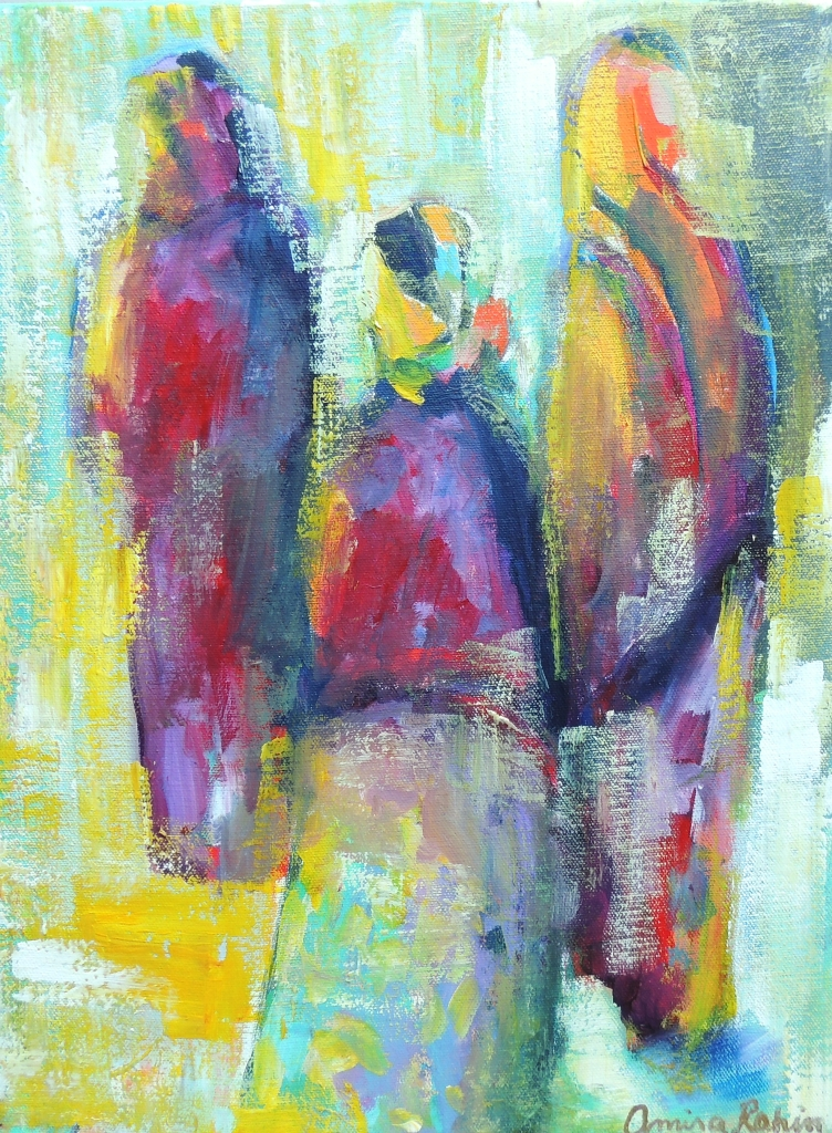 """Souk Dwellers at Dawn"" 12x16"" acrylic on canvas, Available"