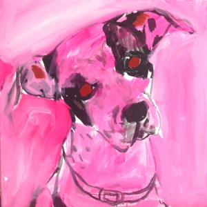 Since the owner wanted a fairly realistic rendition of Zoey, I knew I wouldn't be using much color in this piece. So, I decided to tone the canvas in magenta. It makes for a nice graphic effect against black and white, and it is feminine, which can reflect the dog's sex.