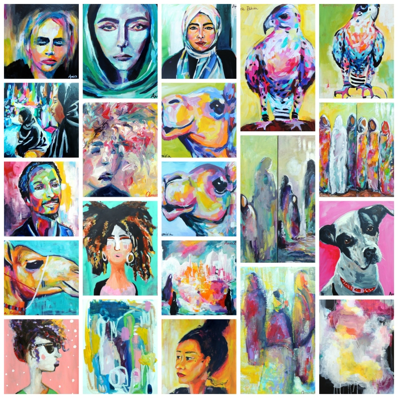 A collage of my completed works in January.