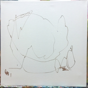 I like to first mark the canvas with a few lines. Just making the space less empty. Some like to tone the canvas. This is also helpful, especially for more figurative painting. For abstract pieces, I tend to dive right in, though.