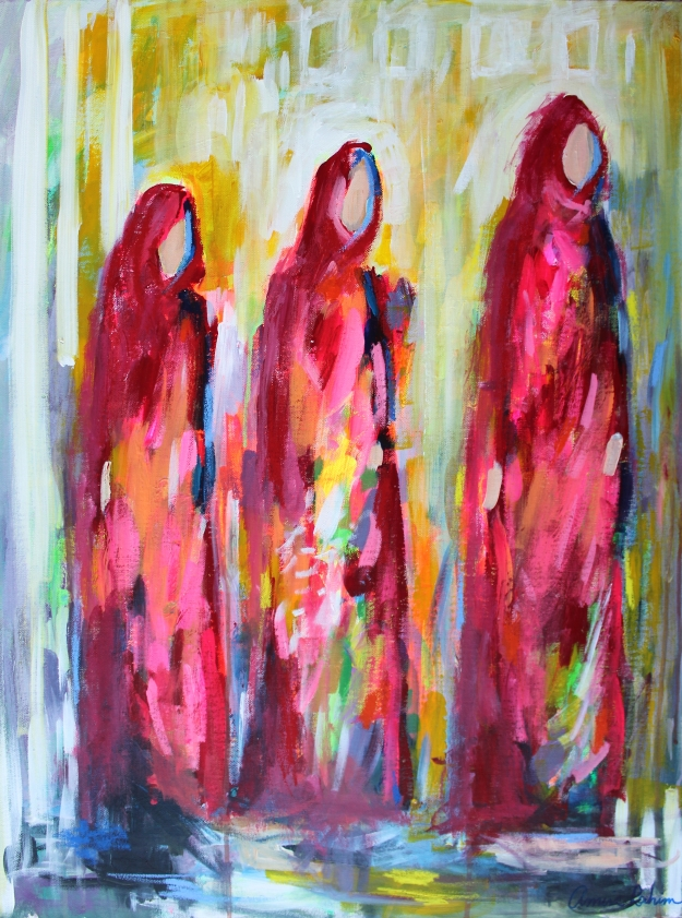 """Omani Procession"" 24x32 acrylic and oil pastel on canvas, View"