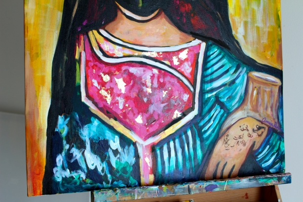 And of course, playing around with gold leaf. This is from my last commission of a Bedouin woman.